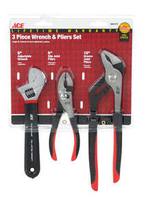 Ace  Pro  3 pk Plier and Wrench Set  Red  6/8/10 in. L Nickel Chrome Steel