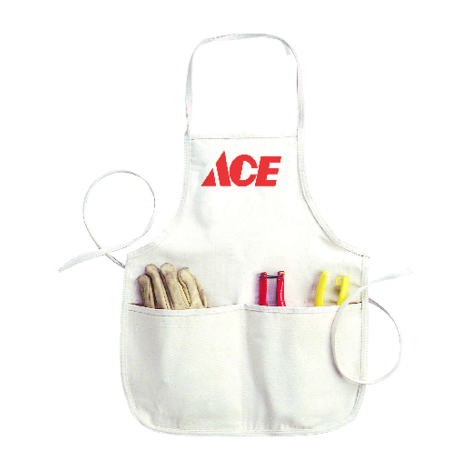 Ace  Heavy Duty 4 pocket Cotton  Bib Apron  White  1 pk