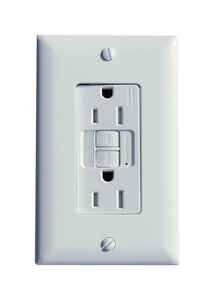 Pass & Seymour  15 amps 125 volt White  GFCI Outlet  5-15R  1 pk