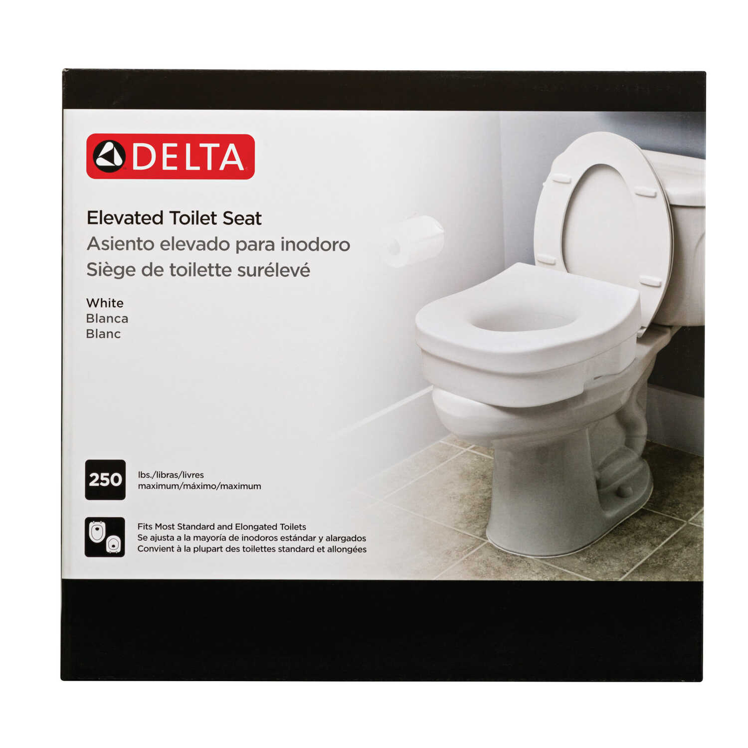 Remarkable Delta White Elevated Toilet Seat Plastic 5 In H X 11 3 4 In Gmtry Best Dining Table And Chair Ideas Images Gmtryco