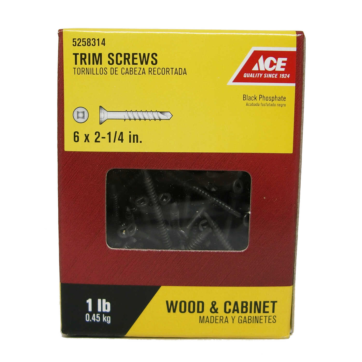 Ace  No. 6   x 2-1/4 in. L Square  Flat Head Black Phosphate  Steel  Trim Screws  1 lb. 165 pk