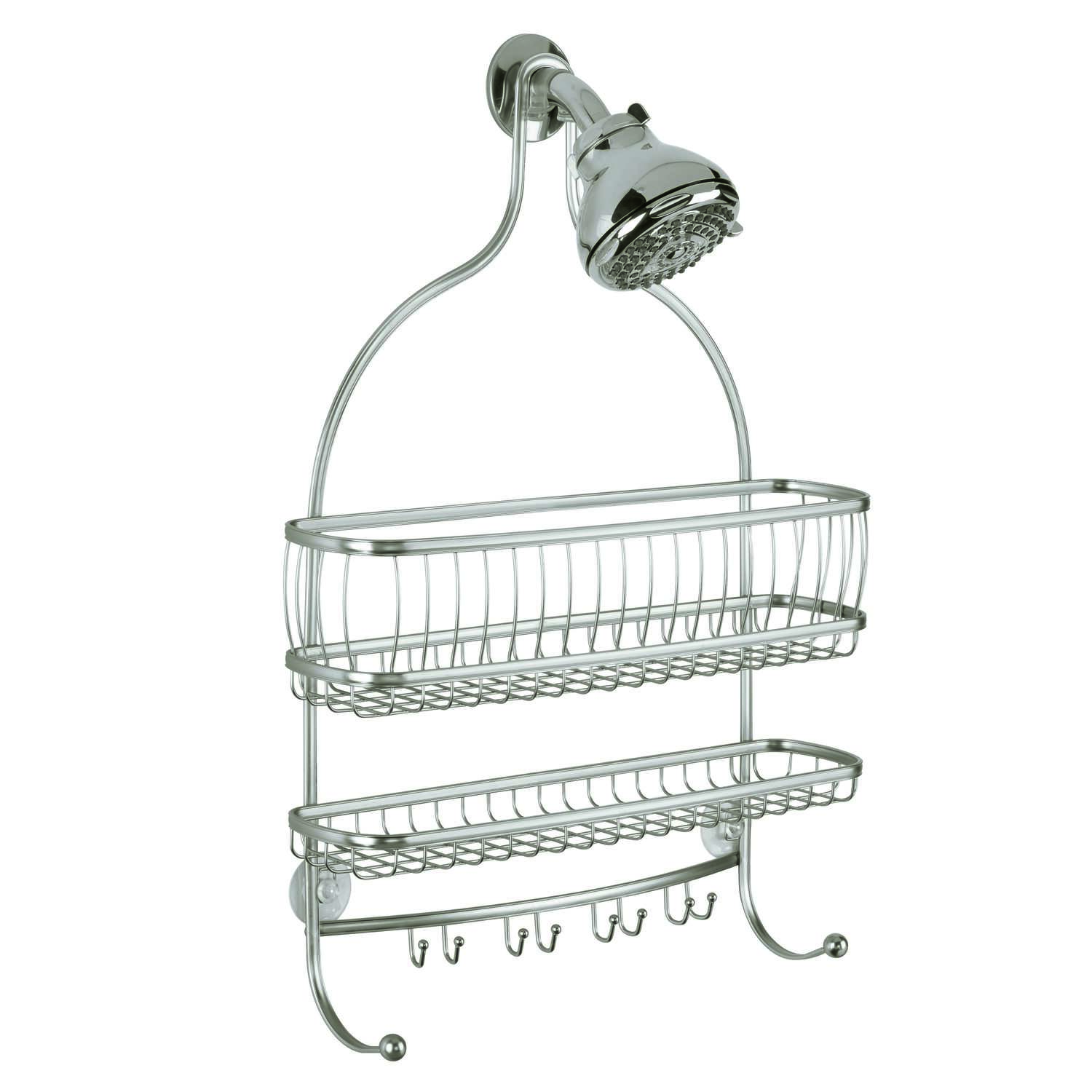 InterDesign York Lyra Jumbo 4 in. H x 15 in. W x 21 in. L Satin Nickel Silver Shower Caddy