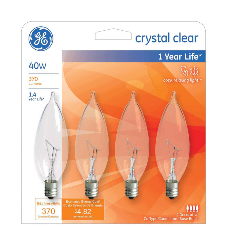 GE Lighting  40 watts CA10  Incandescent Light Bulb  370 lumens White (Clear)  Bent Tip  4 pk
