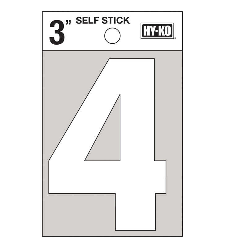 Hy-Ko  3 in. White  Vinyl  Number  4  Self-Adhesive  1 pc.