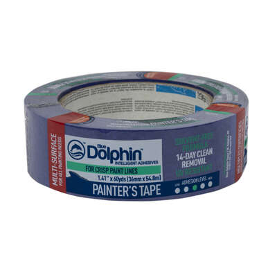 Blue Dolphin  1.41 in. W x 60 yd. L Blue  Medium Strength  Painter's Tape  1 pk