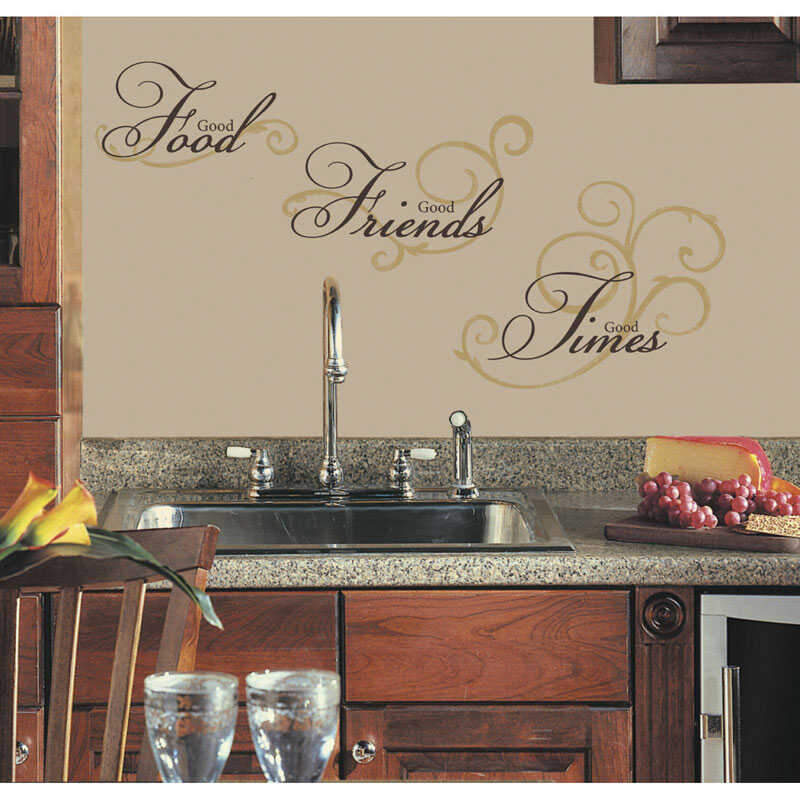 Roommates  2.5 in. W x 9 in. L Good Food Good Friends Good Times  Peel and Stick  Wall Decal