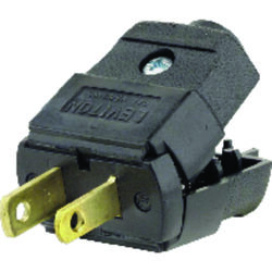 Leviton  Residential  Thermoplastic  Straight Blade  Polarized Plug  1-15P  20-16 AWG 2 Pole 2 Wire