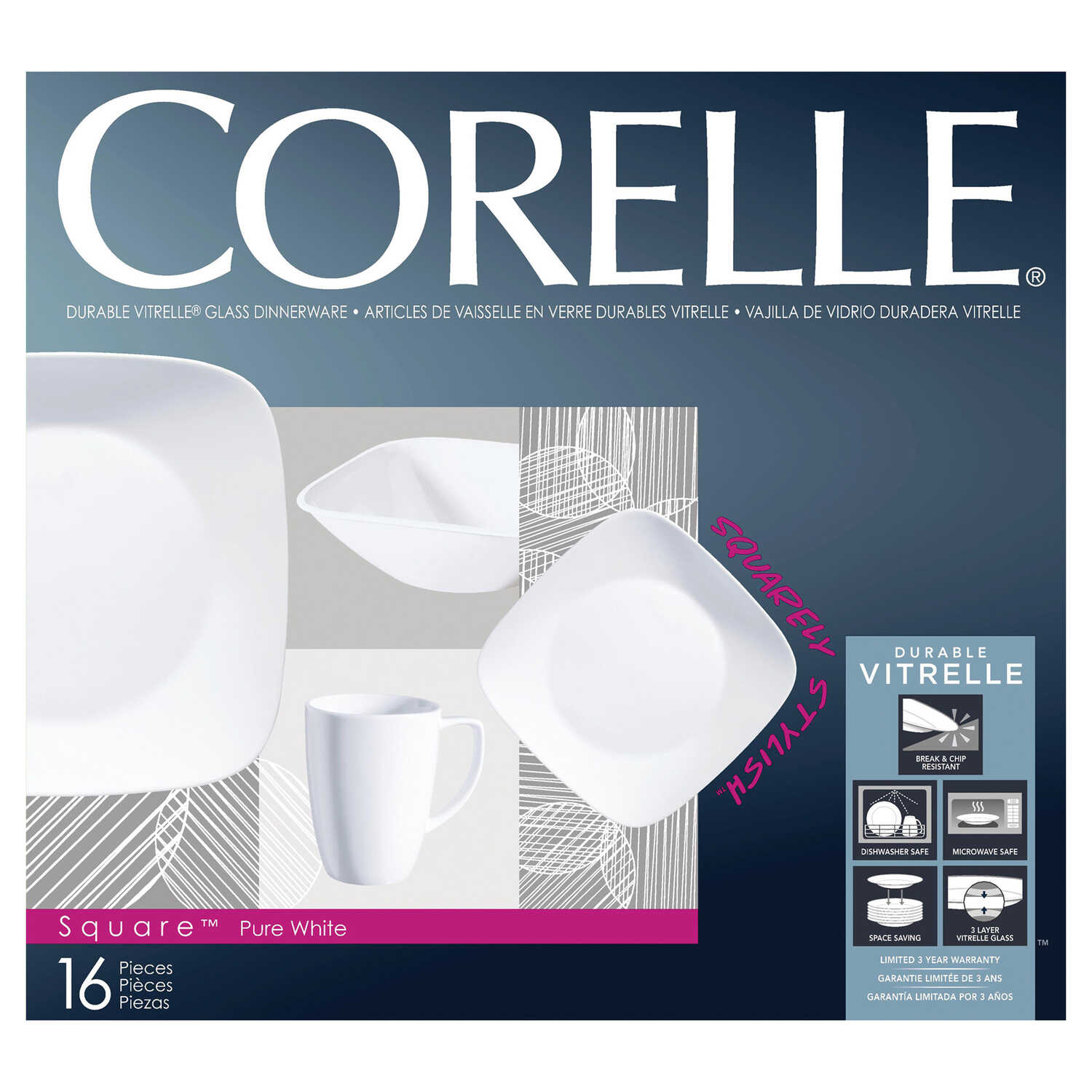 Corelle  White  Glass  Dinnerware Set  16 pc.