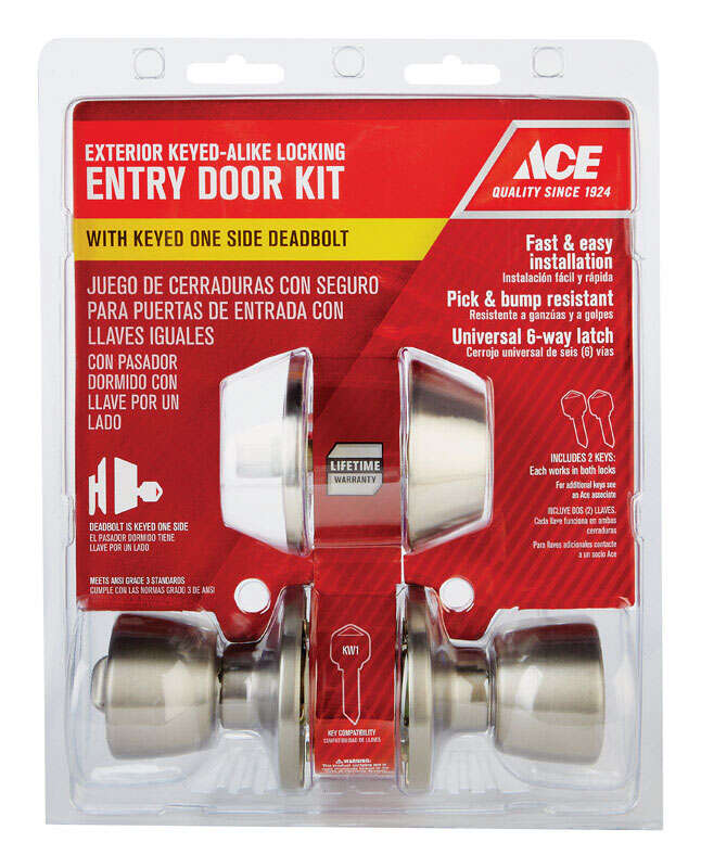 Ace  Tulip  Satin  Stainless Steel  ANSI/BHMA Grade 3  1-3/4 in. Entry Lever and Deadbolt Set