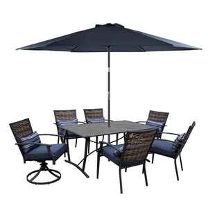 Living Accents  Fair Oaks  7 pc. Brown  Steel  Dining Set  Navy Blue