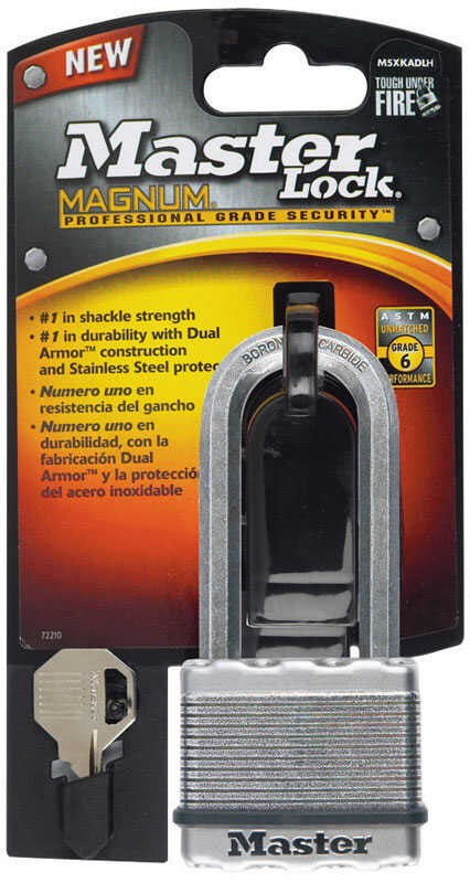 Master Lock  13/16 in. W x 2 in. L x 1-7/16 in. H Laminated Steel  Ball Bearing Locking  Padlock  1
