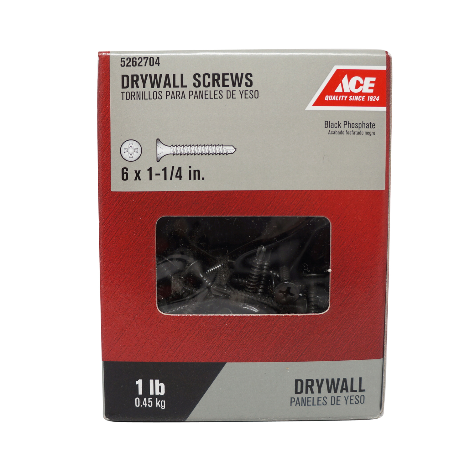 Ace  No. 6   x 1-1/4 in. L Phillips  Bugle Head Black Phosphate  Steel  Drywall Screws  1 lb. 245