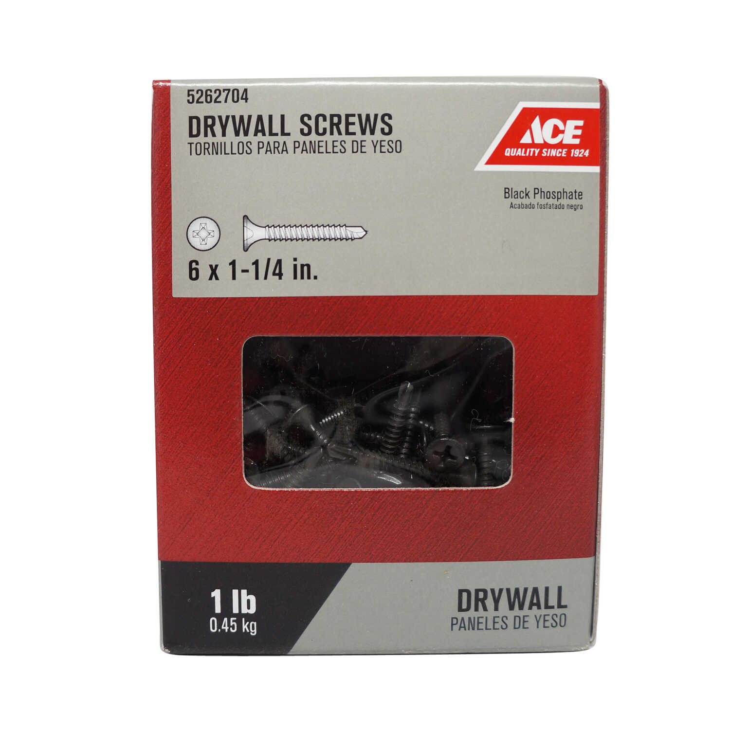 Ace  No. 6   x 1-1/4 in. L Phillips  Bugle Head Black Phosphate  Steel  Drywall Screws  1 lb. 245 pk