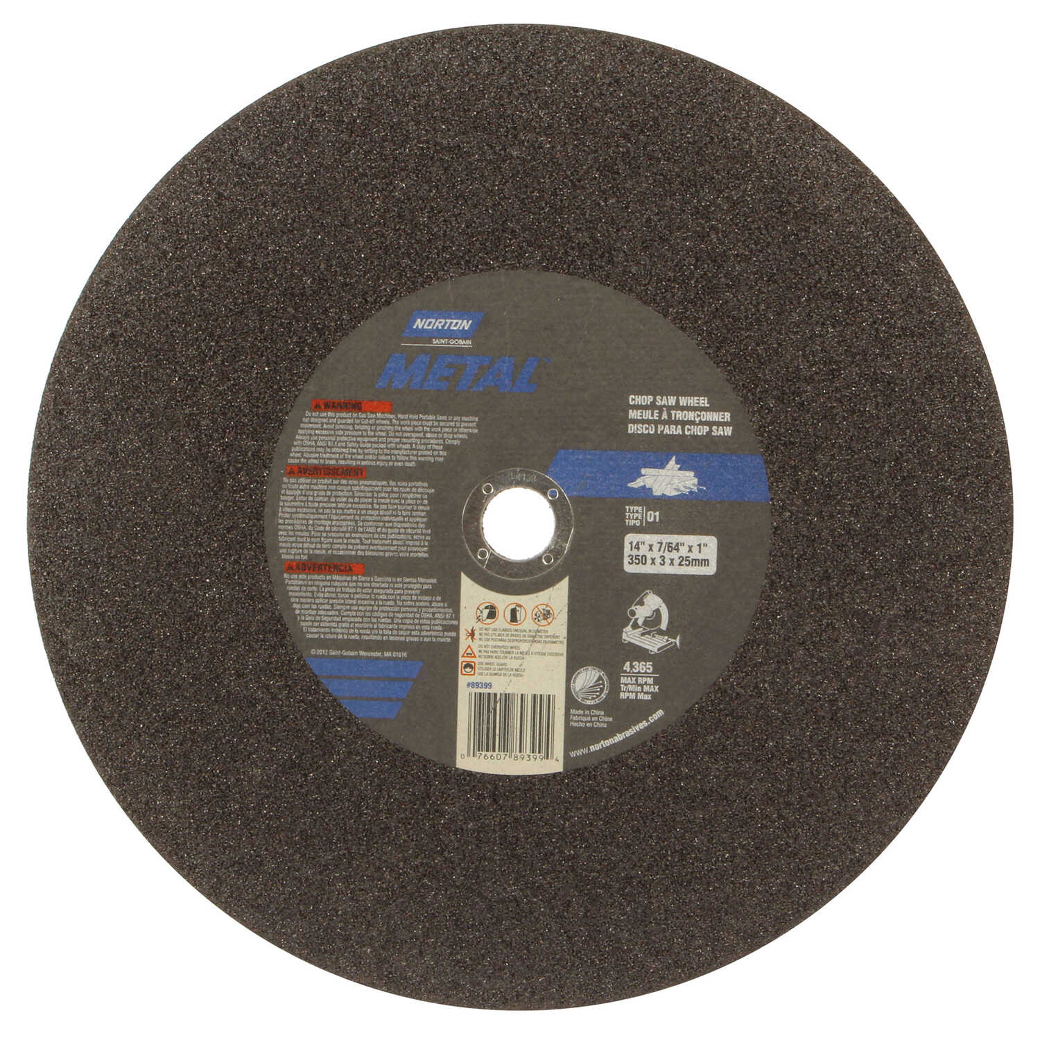 Norton  Aluminum Oxide  Chop Saw Wheel  7/64 in. thick  1 pc. 14 in.