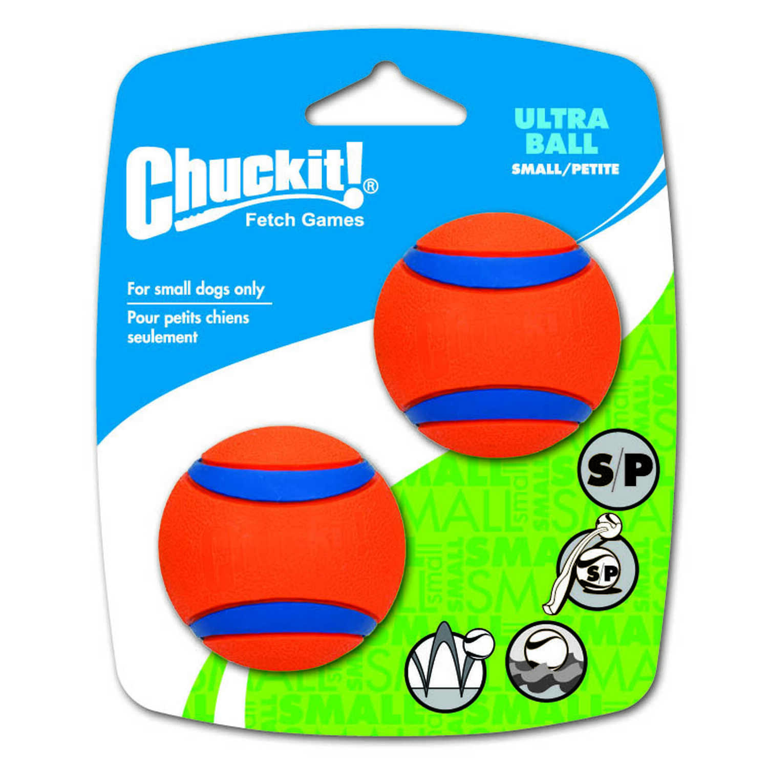 Chuckit!  Ultra Ball  Multicolored  Rubber  Dog Toy  Small