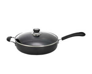 T-Fal  Specialty  Aluminum  Pan with Lid  12 in. 5 qt. Black
