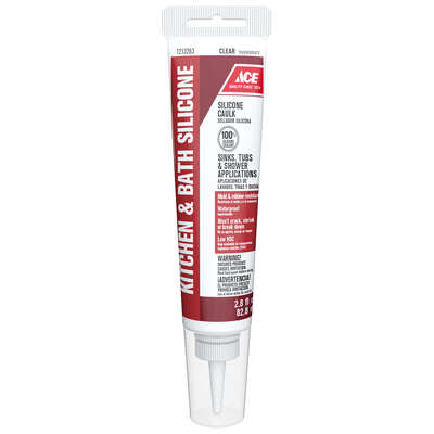 Ace  Clear  Silicone  Kitchen and Bath  Caulk Sealant  2.8 oz.