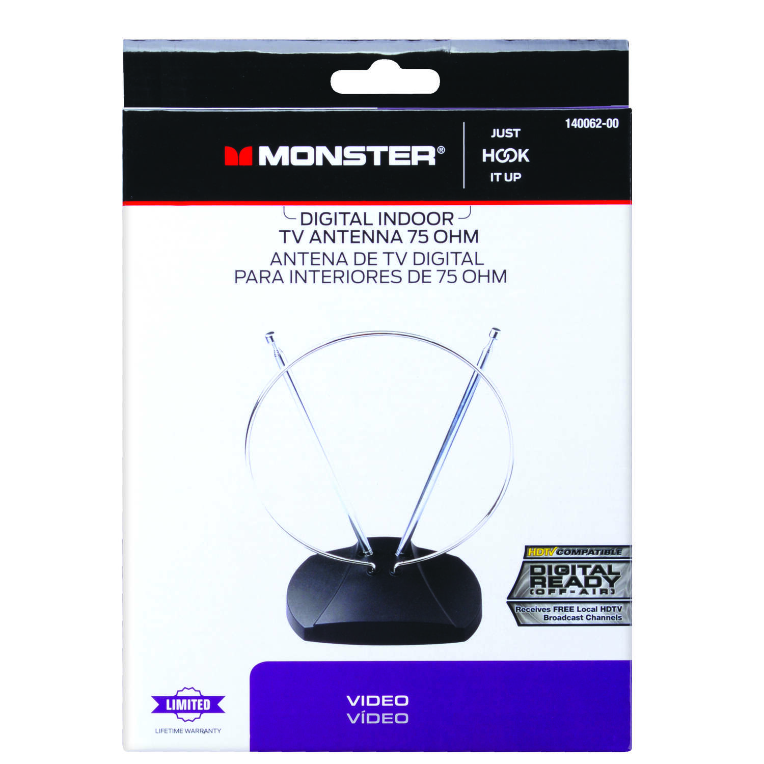 Monster Cable Just Hook It Up Indoor FM/HDTV/UHF/VHF Antenna 1 pk