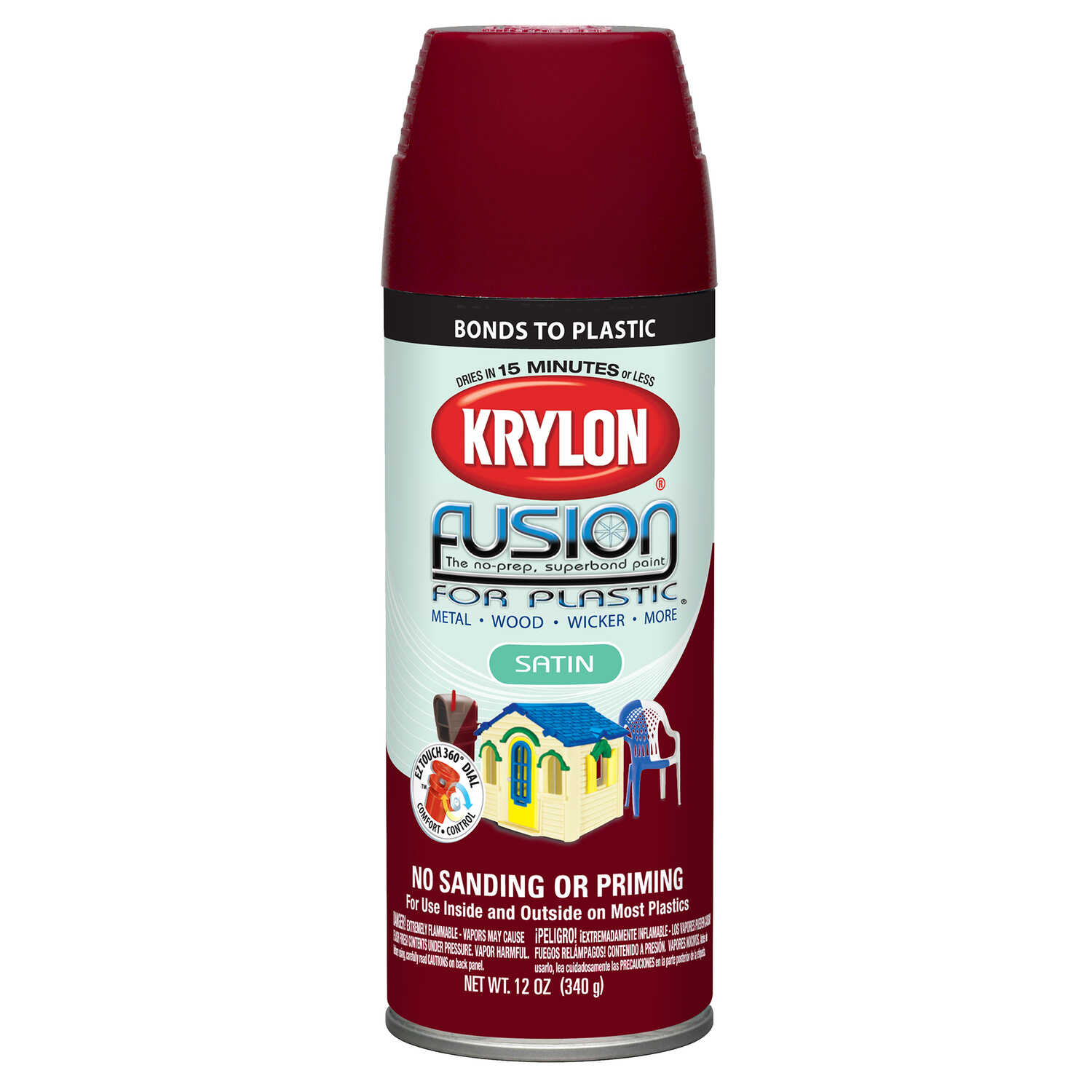 Krylon  Satin  Burgundy  Fusion Spray Paint  12 oz.