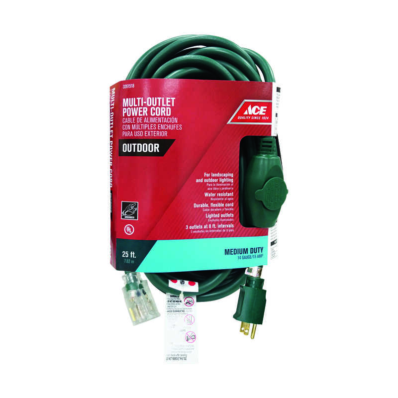 Ace  25 ft. L Outdoor  Triple Outlet Cord  14/3 STW  Green