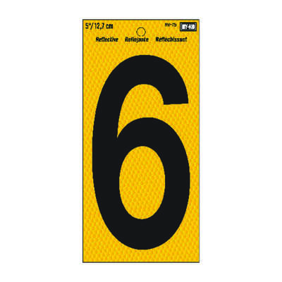 Hy-Ko 5 in. Reflective Black Vinyl Self-Adhesive Number 6 1 pc.