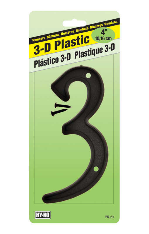 Hy-Ko  4 in. Plastic  3  Number  Nail-On  Black