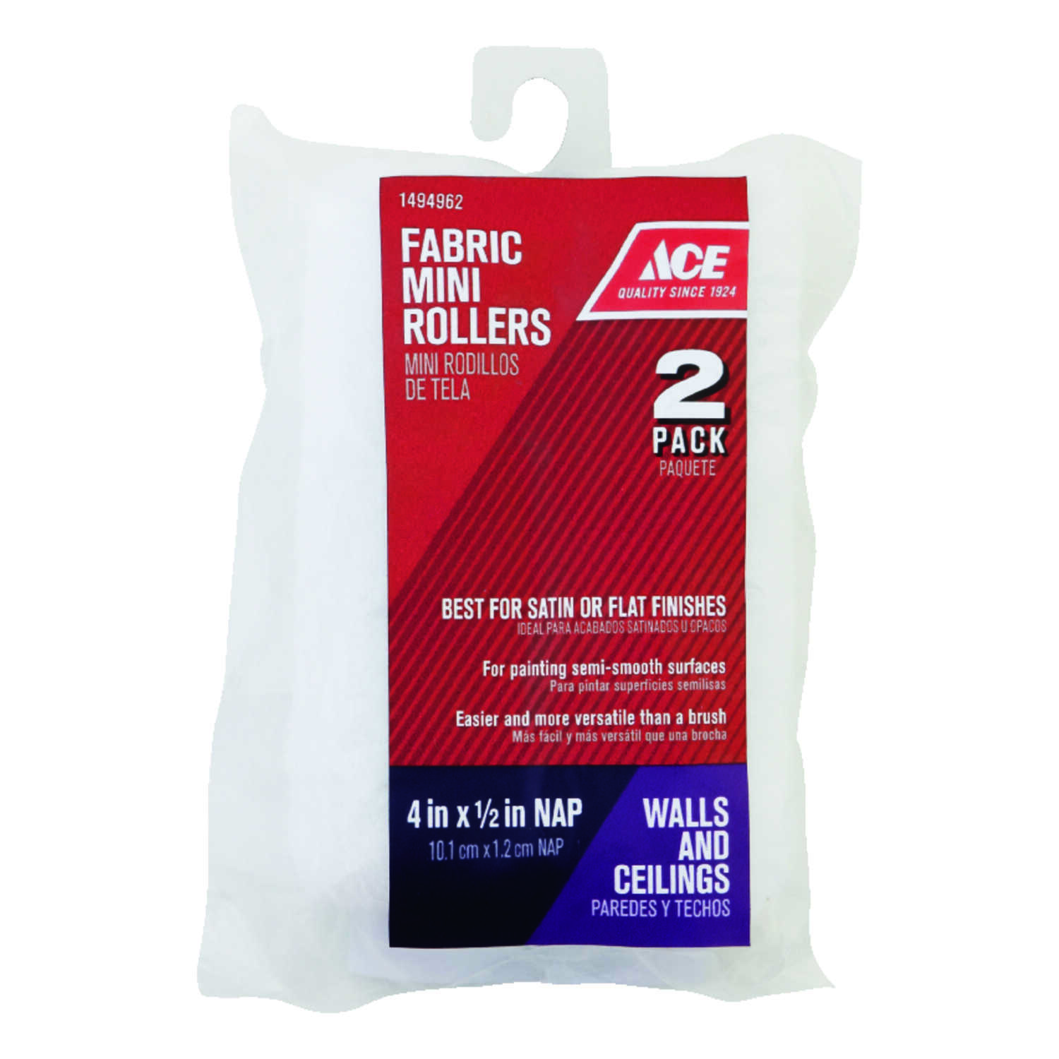 Ace  Knit  1/2 in.  x 4 in. W Mini  Paint Roller Cover  For Semi-Smooth Surfaces 2 pk