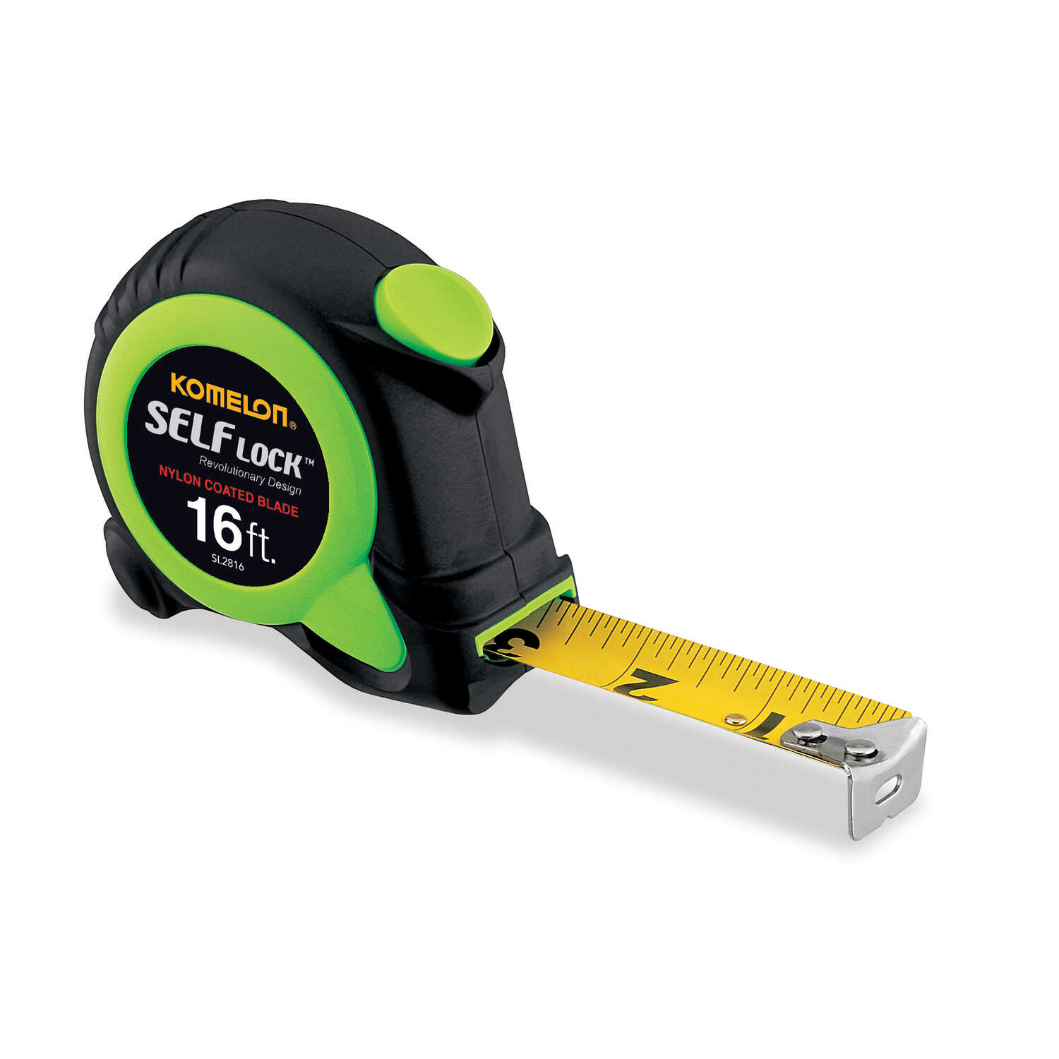 Komelon  Self Lock  0.75 in. W x 16 ft. L Auto Lock Tape Measure  Green  1 pk