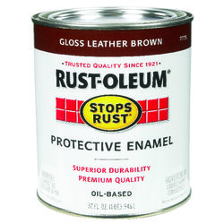 Rust-Oleum  Stops Rust  Indoor and Outdoor  Gloss  Leather Brown  Oil-Based  Protective Paint  1 qt.