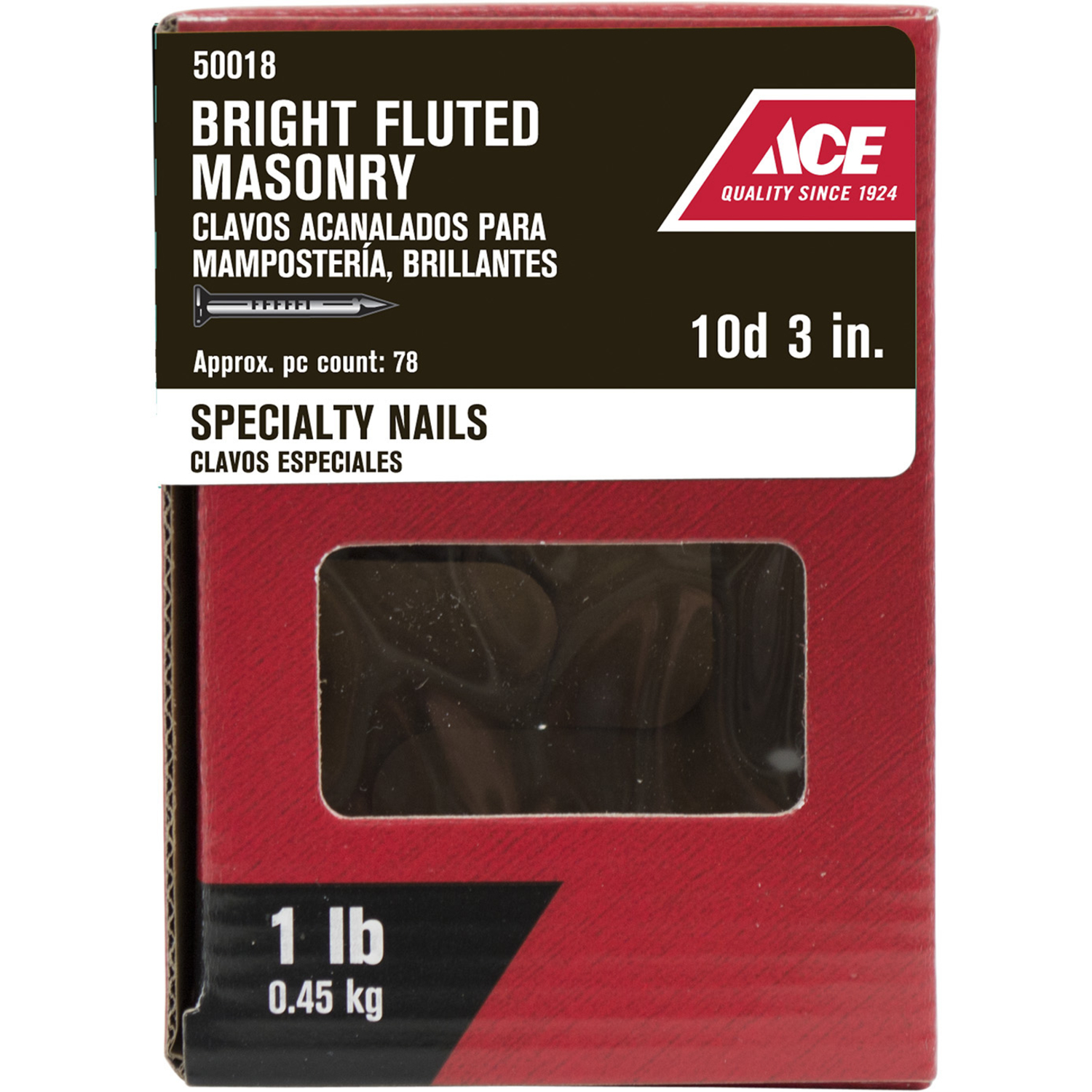 Ace  10D  3 in. L Masonry  Steel  Nail  Flat Head Fluted Shank  1 lb.