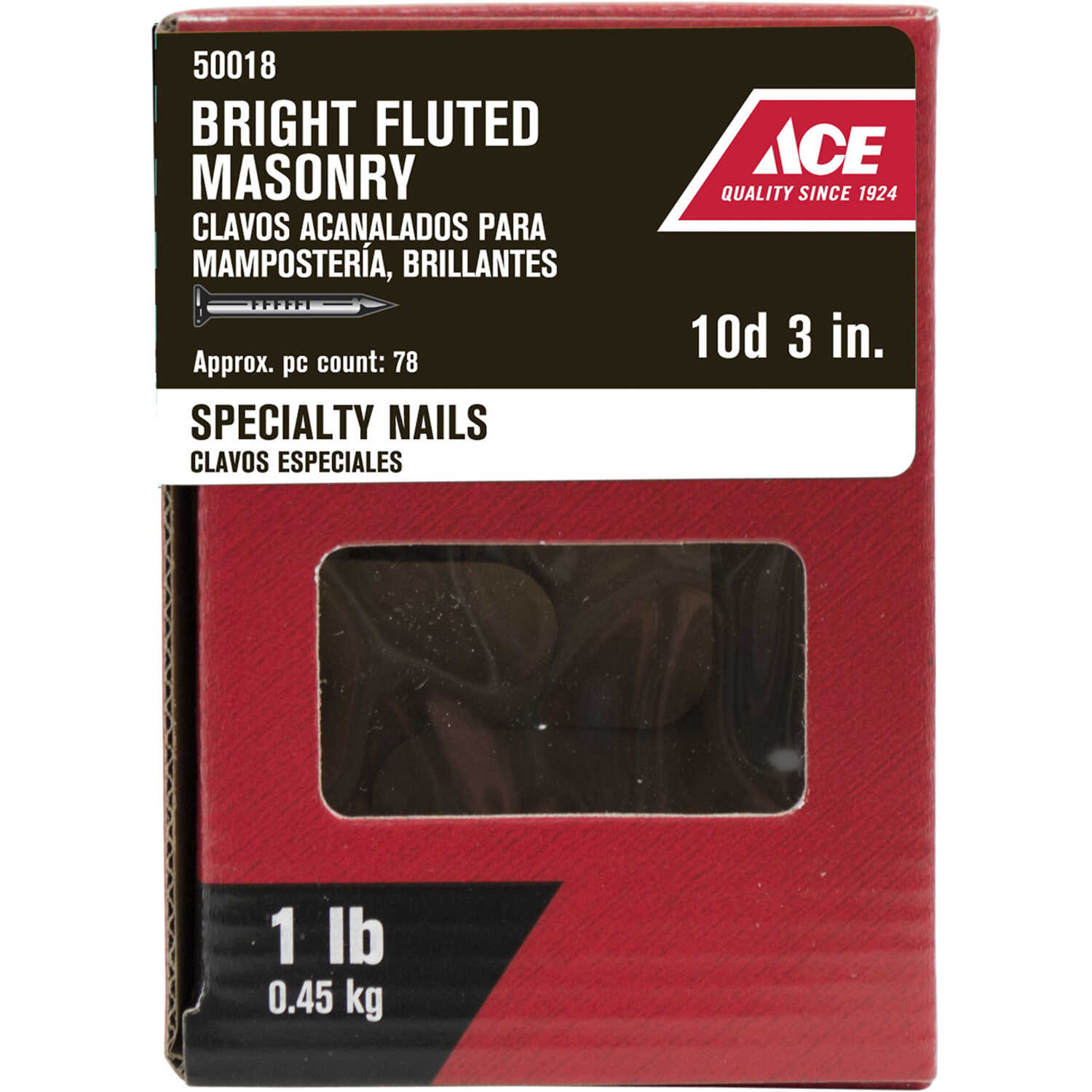 Ace  10D  3 in. L Masonry  Bright  Steel  Nail  Fluted Shank  Flat  1 lb.