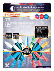 Sylvania  Day by Day  LED M7  Light Set  Color Changing  17.25 ft. 70 lights Green