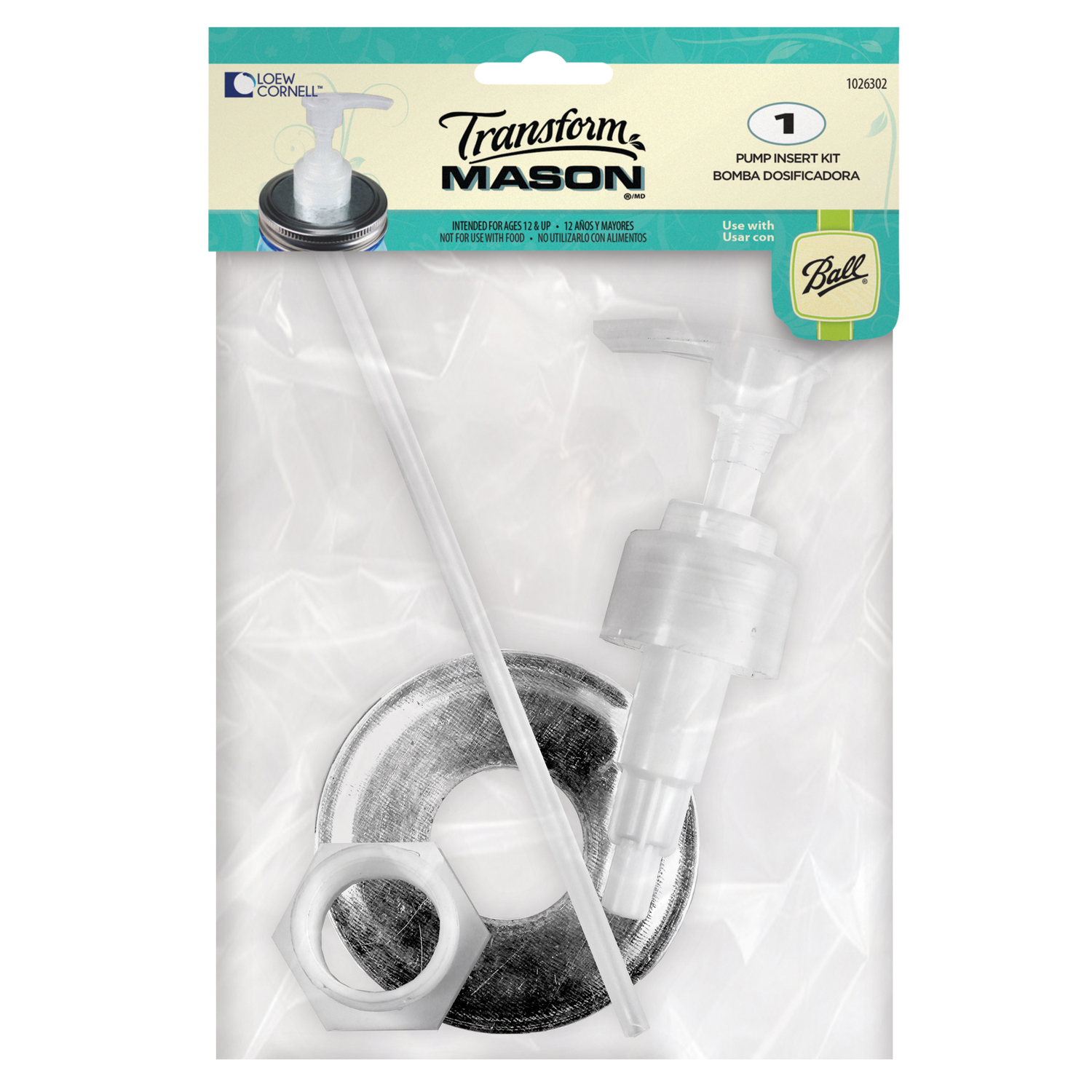 Loew Cornell  Transform Mason  Regular Mouth  Jar Soap Pump