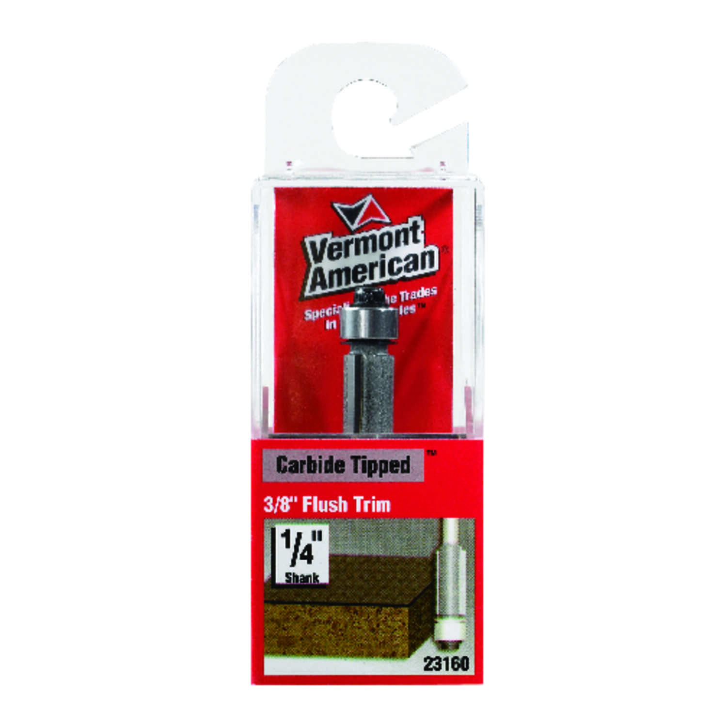 Vermont American  1/4 in. Dia. x 3/8 in.  x 2 in. L Carbide Tipped  Flush Trim  Router Bit