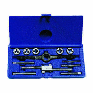 Irwin  Hanson  High Carbon Steel  SAE  Tap and Die Set  1/4-20NC, 5/16-18NC, 38-16NC, 7/16-14NC, 1/2