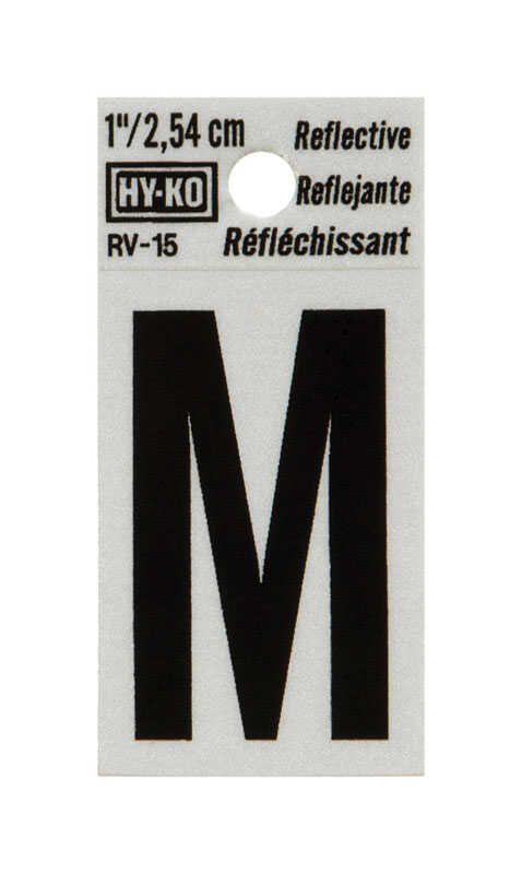 Hy-Ko  1 in. Vinyl  Black  Reflective Self-Adhesive  Letter  M