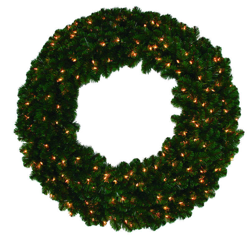 J & J Seasonal  Prelit Green  Masterpiece Commercial Wreath  72 in. Dia. Clear