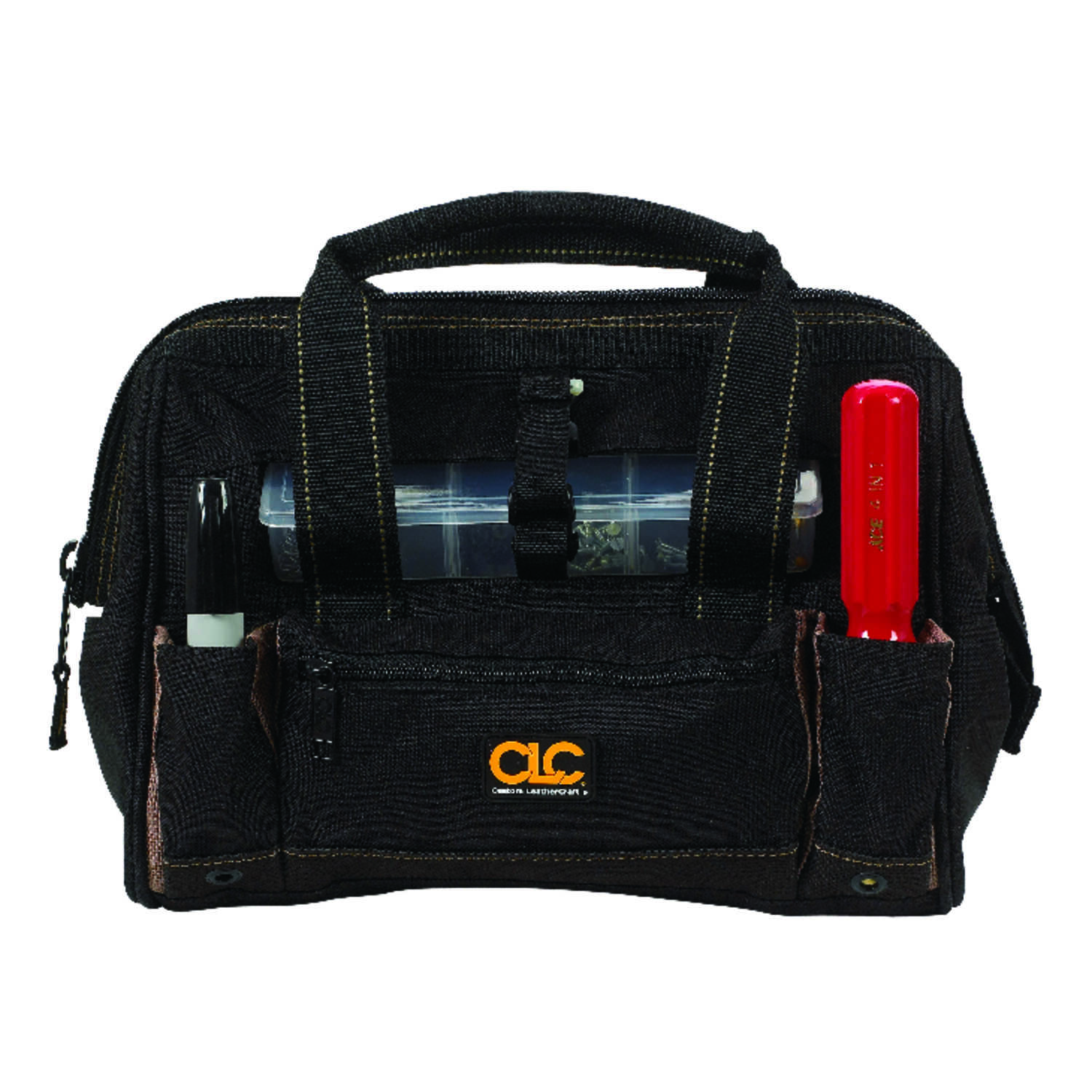 CLC Work Gear  4 in. W x 10.75 in. H Polyester  Tote Bag with Plastic Tray  Black/Tan  1 pc.