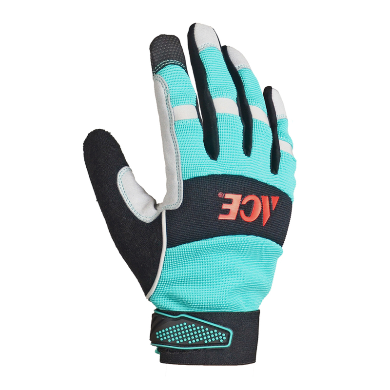 Ace  Women's  Indoor/Outdoor  Synthetic Leather  Work Gloves  Work Gloves  Black/Blue  M