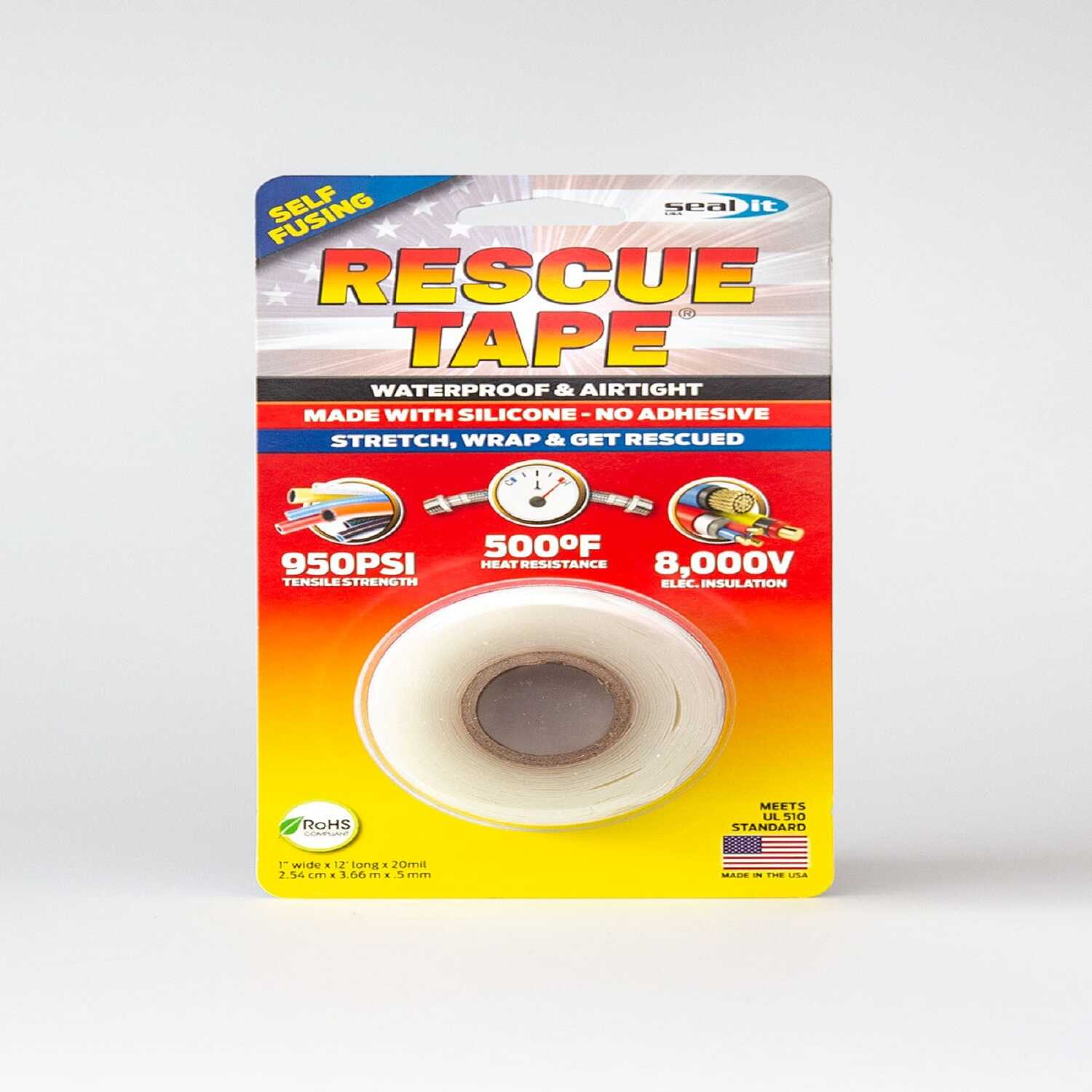 Rescue Tape  1 in. W x 12 ft. L Clear  6 oz. Silicone Tape