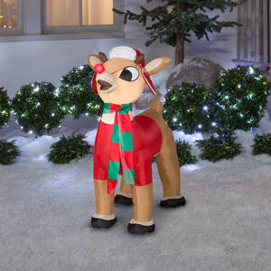 Gemmy  Airblown  Small Rudolph with Winter Clothes  Christmas Inflatable  Multicolored  Polyester  1