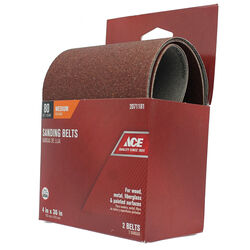 Ace  36 in. L x 4 in. W Aluminum Oxide  Sanding Belt  80 Grit Medium  2 pc.