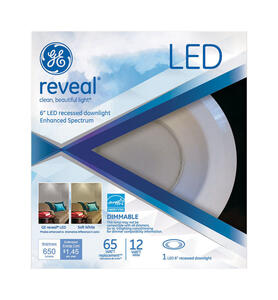 GE Lighting  Reveal  Matte  White  6 in. W Steel  LED  Dimmable Recessed Downlight