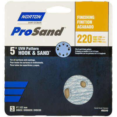 Norton ProSand 5 in. Ceramic Alumina Hook and Loop Sanding Disc 220 Grit Very Fine 3 pk