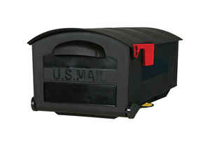 Gibraltar Mailboxes  Gibraltar  Roughneck  Plastic  Post Mounted  Black  Mailbox  9-1/2 in. H x 11-3