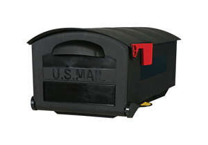Gibraltar Mailboxes  Gibraltar  Roughneck  Post Mounted  Black  Plastic  Mailbox  9-1/2 in. H x 21 i