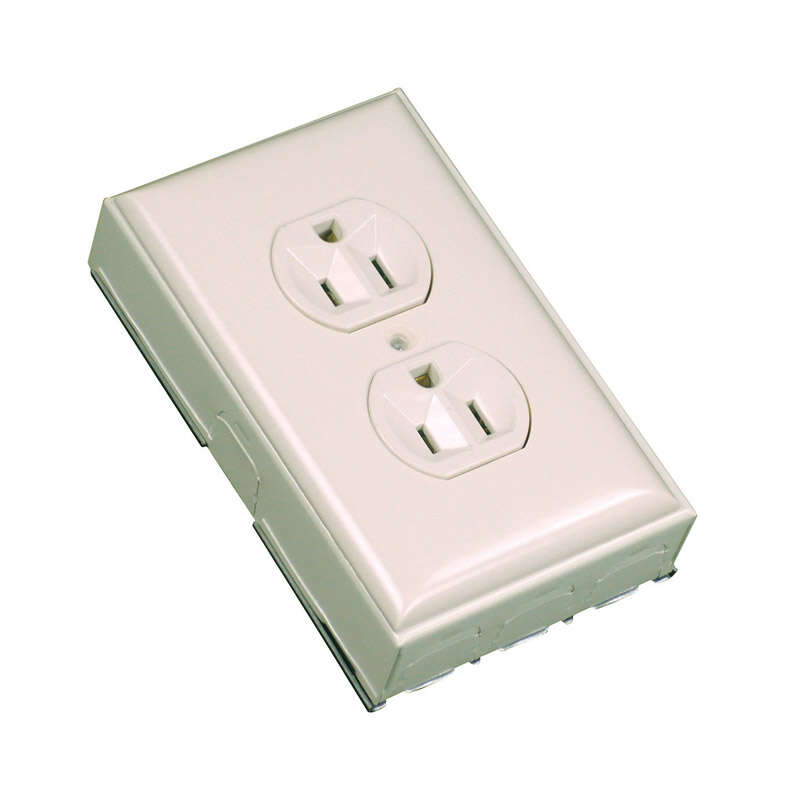 Wiremold  1.1 in. 1 Gang  Plastic  Rectangle  Ivory  Outlet Box