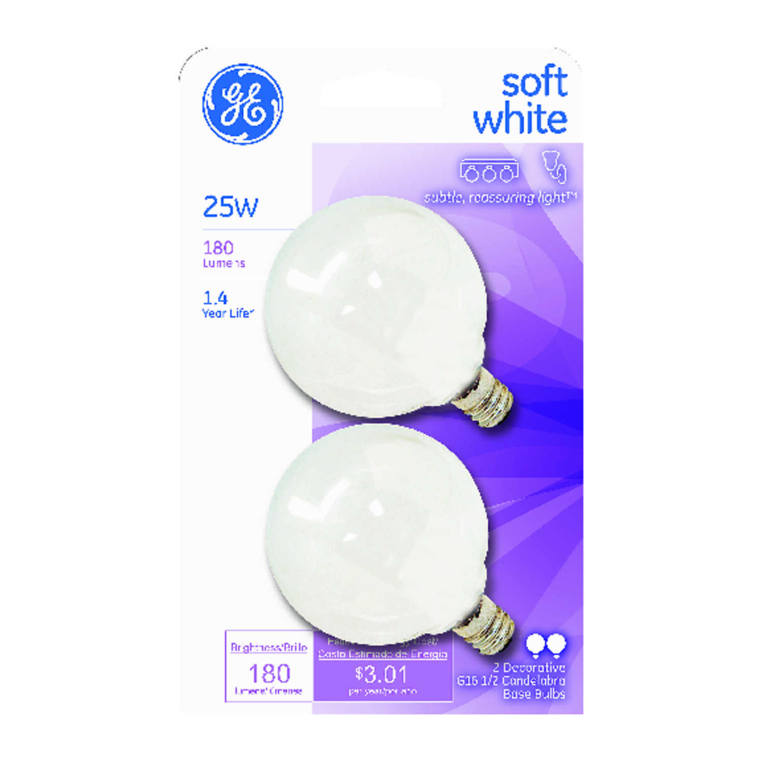 GE Lighting  25 watts G16.5  Incandescent Bulb  180 lumens Soft White  Globe  2 pk