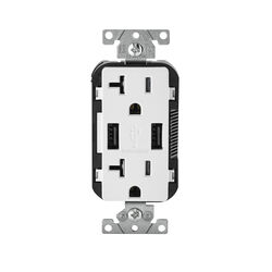 Leviton  Decora  20 amps 125 volt Duplex  White  Outlet and USB Charger  5-20R  1 pk