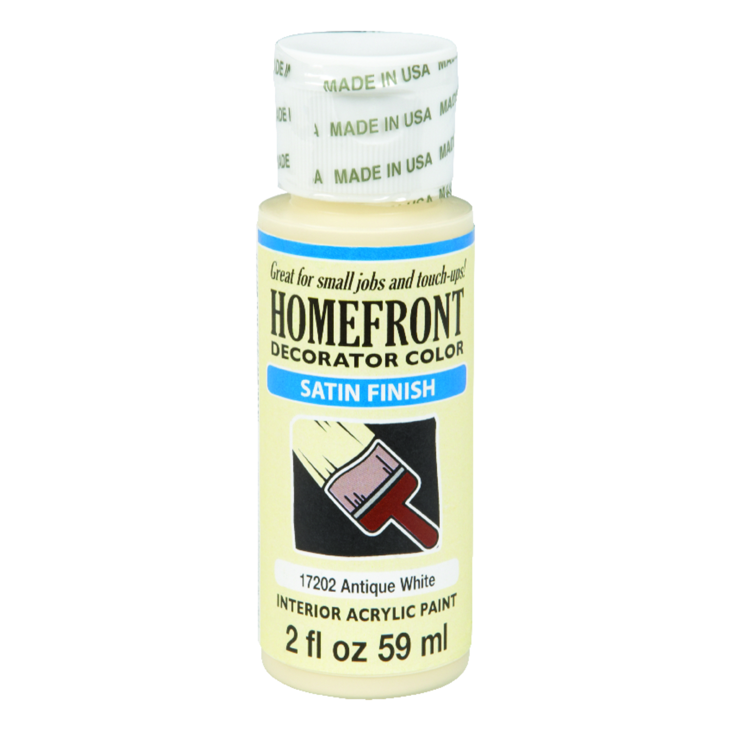 Homefront  Decorator Color  Satin  Antique White  Hobby Paint  2 oz. Acrylic Latex